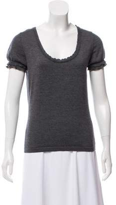Valentino Wool & Silk Blend Short Sleeve Top