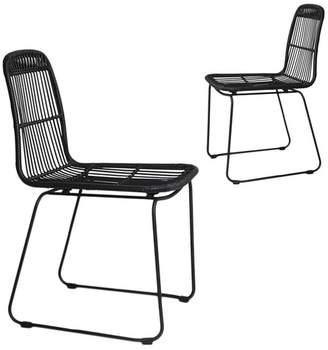Set of 2 Faux Rattan Dining Chairs