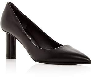 Salvatore Ferragamo Women's Badia 70 Leather Flower Heel Pointed Toe Pumps