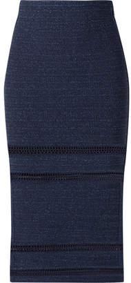 Herve Leger Crochet-trimmed Metallic Bandage Midi Skirt - Navy