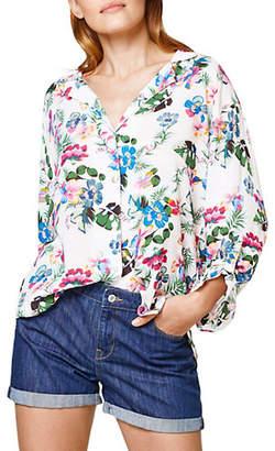 Esprit Roll-Tab Floral-Print Shirt