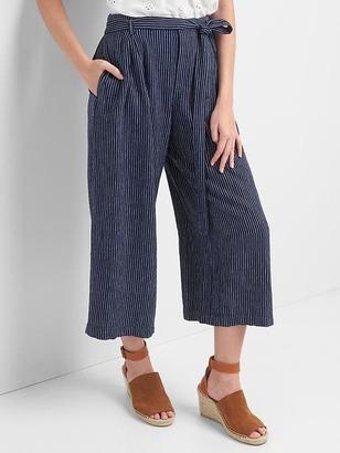Linen stripe tie-belt culottes $54.95 thestylecure.com