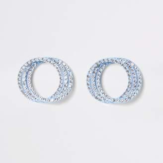 River Island Womens Blue diamante triple ring stud earrings