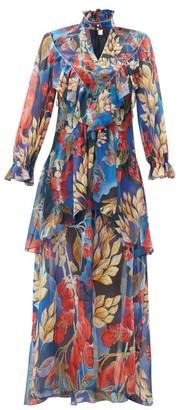 Peter Pilotto Ruffle Trim Floral Print Silk Georgette Gown - Womens - Blue Multi