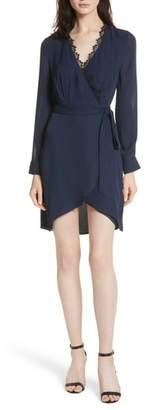 L'Agence Trino Lace Trim Silk Wrap Dress