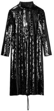 Tibi Avril Sequins Split Neck Dress
