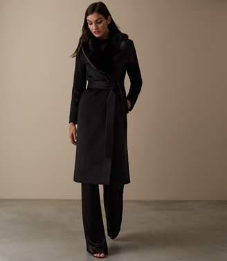 Reiss ORSON DETACHABLE FAUX-FUR COLLAR COAT Black