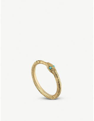1bb05224355a70 at Selfridges · Gucci Ouroboros 18ct yellow-gold and turquoise ring