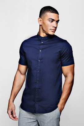 boohoo Muscle Fit Grandad Collar Short Sleeve Shirt