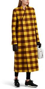 Rick Owens Women's Museum Checked Alpaca-Wool Coat - Yellow Brown