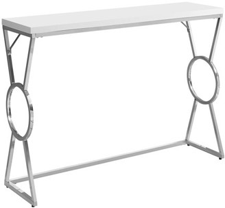 "Monarch Specialties ACCENT TABLE - 42""L / GLOSSY WHITE / CHROME METAL"