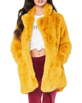 6348124b94b9e4 Hyling Women s Faux Fur Winter Coat Long Sleeve Shearling Coat Jackets Over  Sized Casual Pockets Lapel