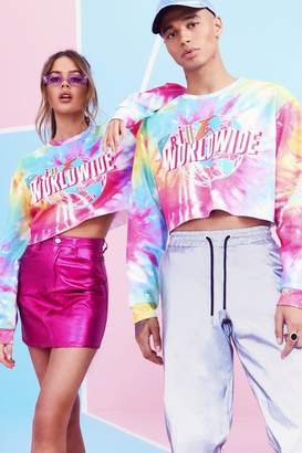 boohoo Pride Tie Dye Cropped Sweater With Print
