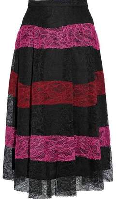 Sachin + Babi Pleated Striped Corded Lace Skirt