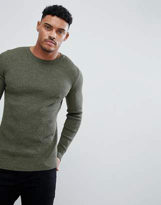 8471f0710279ab Asos Design DESIGN muscle fit ribbed jumper in khaki twist