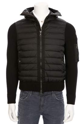 Moncler Zip Through Puffer Jacket With Knit Sleeves