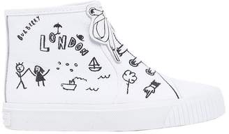 Burberry Printed Cotton Canvas High Top Sneakers