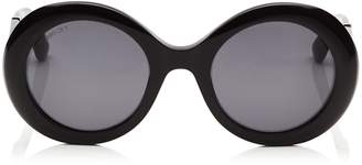 Jimmy Choo WENDY Black Round Framed Sunglasses with Lurex Detailing