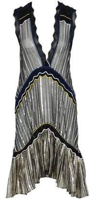 Peter Pilotto Ribbed Knit-Trimmed Pleated Striped Chiffon And Lamé Dress