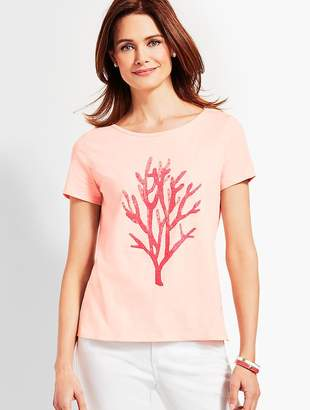 Talbots Embellished Coral Watercolor Tee