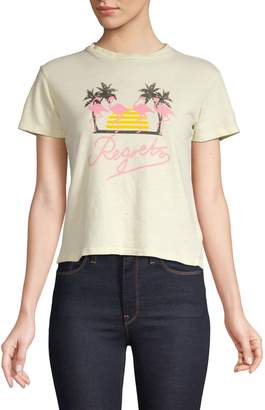A Gold E Agolde Baby Tee with Flamingo Graphic