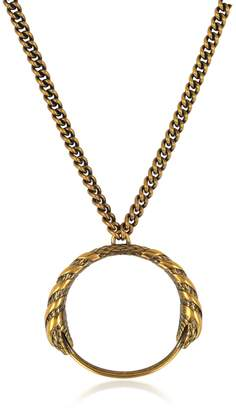 Roberto Cavalli Antique Goldtone Metal Snake Pendant Necklace