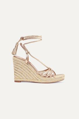 Aquazzura Savannah 120 Metallic Leather Espadrille Wedge Sandals - Gold
