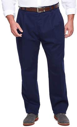 Izod Sportflex Waistband Stretch Pleated Chino Pants-Big & Tall