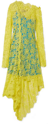Preen by Thornton Bregazzi Maisie Asymmetric Corded Lace Dress - Bright yellow