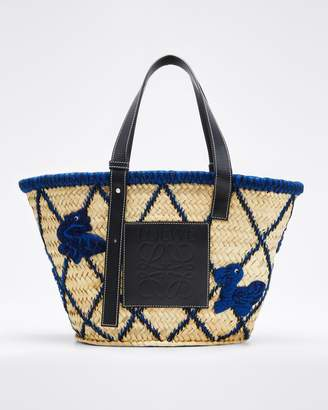 Loewe Basket Animals Raffia Tote Bag