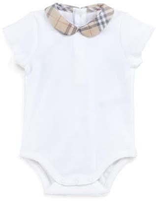Burberry Izzy Cotton Bodysuit w/ Check Peter Pan Collar, Size Newborn-24M