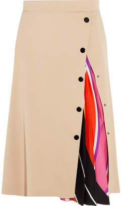 Emilio Pucci - Twill-paneled Silk-blend Midi Skirt - Beige $1,075 thestylecure.com