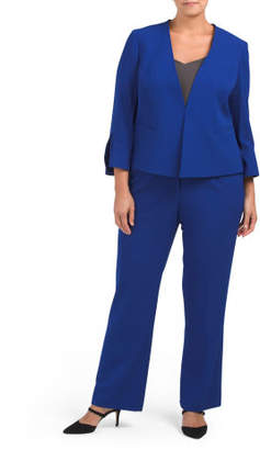 Plus Pant Suit With Flared Sleeve