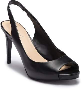 Nine West Known As Leather Slingback Peep Toe Stiletto Heel
