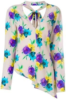MSGM asymmetric floral blouse