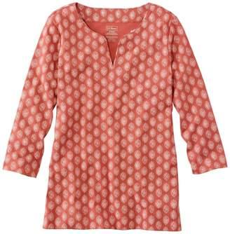 L.L. Bean L.L.Bean Pima Cotton Tunic, Three-Quarter-Sleeve Splitneck Print
