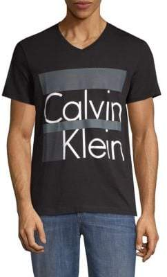 Calvin Klein Box Stripe Logo Cotton Tee