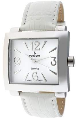 Peugeot Women's 706WT Silver-Tone Leather Strap Watch