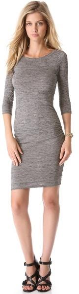 James Perse Jewel Neck Salt And Pepper Dress