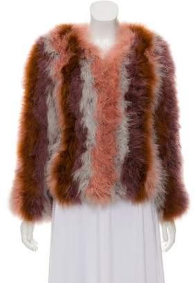 Pello Bello Collarless Faux Feather Jacket w/ Tags