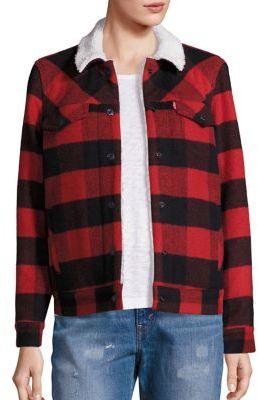 Levi's Boyfriend Wool Blend Sherpa Trucker Jacket $178 thestylecure.com
