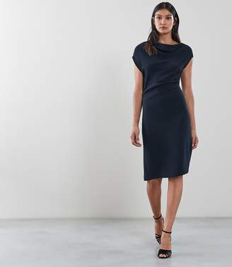 Reiss Our last order date for Christmas has now passed LORE CAPPED SLEEVE DRESS Midnight