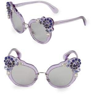 Miu Miu Crystal Embellished 52MM Cateye Sunglasses