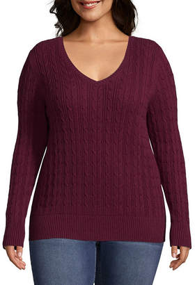 ST. JOHN'S BAY Cable V-Neck Sweater - Plus