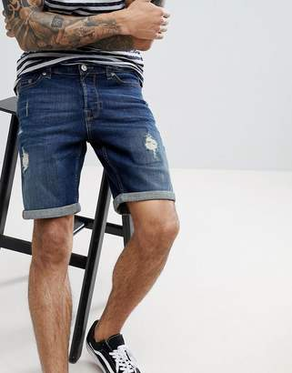 ONLY & SONS denim shorts with distress and wash