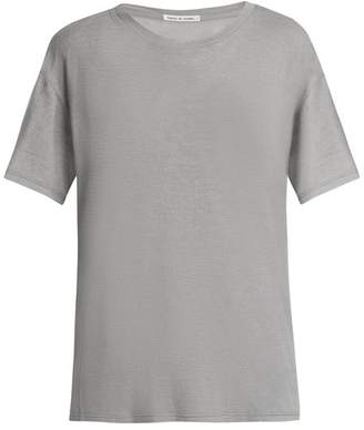 Frances De Lourdes - Johnny Round Neck Cashmere And Silk Blend T Shirt - Womens - Grey