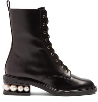 Nicholas Kirkwood Casati pearl heel lace-up combat boot