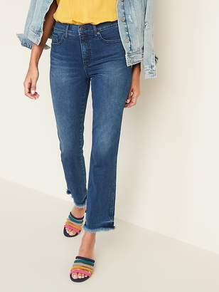 Old Navy High-Rise Secret-Slim Pockets Raw-Edge Flare Ankle Jeans for Women