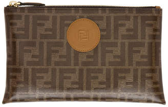 Fendi Brown Medium Forever Flat Pouch