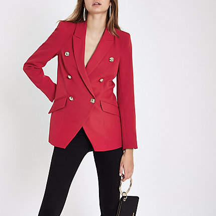 Womens Red double breasted tux jacket